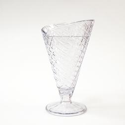 Coppa gelato a forma di cornetto in san trasparente cl 23,7