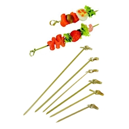 Spiedini monouso in bamboo con ricciolo cm 10,5