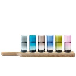 Set 6 bicchieri vodka LSA colorati con vassoio in legno