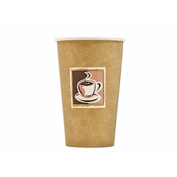 Bicchiere Cappuccino Con Decoro In Carta Marrone Cl 45
