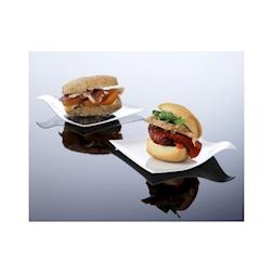 Piattini quadrati Hola 100% Chef in plastica bianca cm 8x8