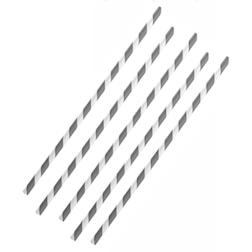 Cannucce biodegradabili con decoro a spirale in carta bianca e grigia cm 20x0,6