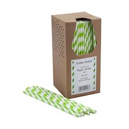 Cannucce biodegradabili con decoro a spirale in carta bianca e verde chiaro cm 20x0,6