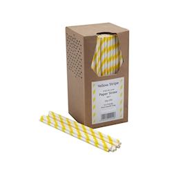 Cannucce biodegradabili con decoro a spirale in carta bianca e gialla cm 20x0,6