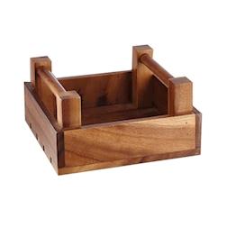 Portapane e alzata quadrata in legno cm 20x20x10