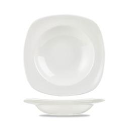 Piatto fondo quadro Linea Equation Churchill in ceramica vetrificata bianco cm 24,5