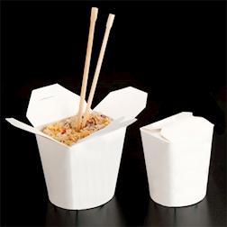 Contenitore alimenti monouso bianco in cartone cm 9x9x10,8