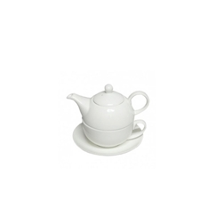 Teiera Tea for One con tazza e piatto in porcellana bianca cl 45