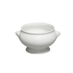 Zuppiera Testa di Leone con coperchio in porcellana bianca cl 40