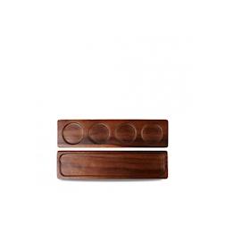 Vassoio rettangolare Wood Deli Churchill in legno di acacia marrone 4 impronte cm 35,2x9