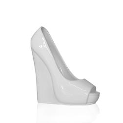 Bicchiere scarpetta in ceramica bianca