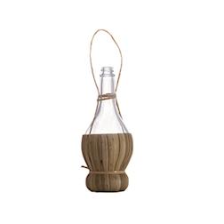 Fiaschetta Chianti S porta sale o pepe con tappo in vetro e paglia cl 10