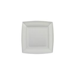 Piatto piano in polistirene argento cm 23x23