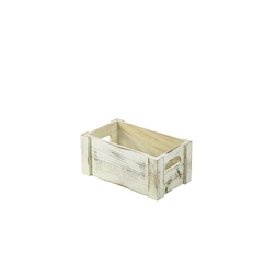 Cassetta vintage in legno bianco cm 27x16