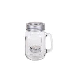 Bicchiere barattolo con manico porta candela in vetro