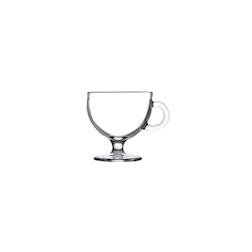 Bicchiere latte con piede e manico in vetro cl 25