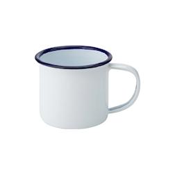 Minitazza mug smaltata bianca con rigo blu cl 15,5