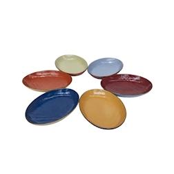 Vassoio ovale Mediterraneo in ceramica colorata cm 32x22,5