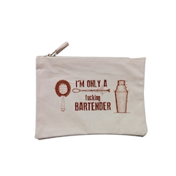 Bustina I'm Only a fucking Bartender in cotone beige cm 28x20