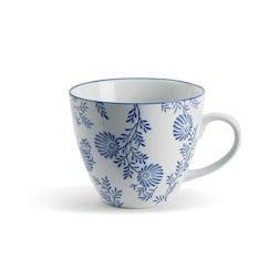 Tazza Indaco in porcellana con decoro floreale cl 50