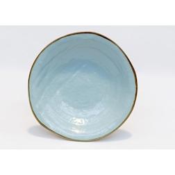Piatto piano Mediterraneo in ceramica turchese cm 27,5