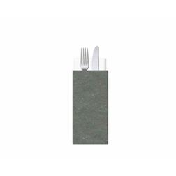 Buste portaposate in cartapaglia grigia con tovagliolo cm 25x11