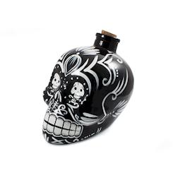 Bottiglia Teschio Mexican in vetro smaltato nero cl 70