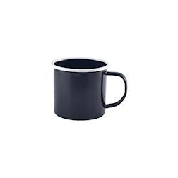 Tazza mug smaltata nera con profilo bianco cl 36
