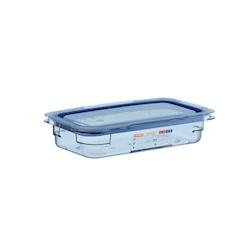 Contenitore 1/3 in plastica azzurra con coperchio altezza cm 6,5