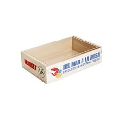 Cassetta per frutti di mare con scritta 100% Chef in legno