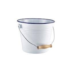 Secchiello ghiaccio in smalto bianco con rigo blu lt 5