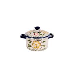 Mini casseruola decorata blu con coperchio in porcellana cl 8