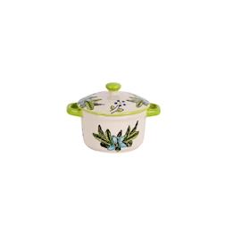 Mini casseruola decorata verde con coperchio in porcellana cl 8