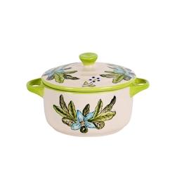 Mini casseruola decorata verde con coperchio in porcellana cl 24
