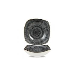 Piatto fondo quadrato Studio Prints Homespun Churchill in ceramica vetrificata nero cm 21