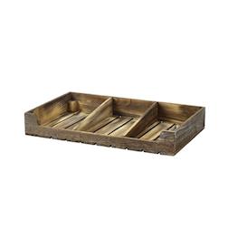 Alzata dark rustic 3 scomparti in legno cm 53x32,5x8