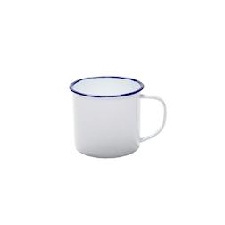 Tazza in metallo smaltato bianco e blu cl 37