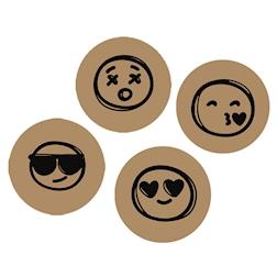 Sottobicchieri Emoticon in cartoncino marrone cm 10