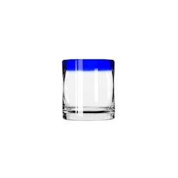 Bicchiere Aruba Rocks in vetro trasparente con bordo blu cl 35,5