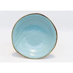 Piatto piano Mediterraneo in ceramica turchese cm 20