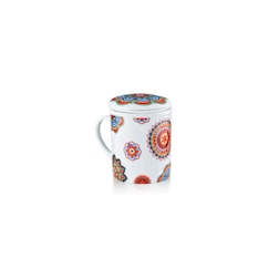 Tazza tisana Kerala con filtro N.3 in porcellana decorata