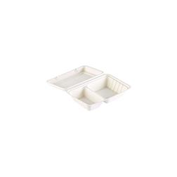 Contenitore asporto Duni con coperchio a 2 scomparti in polpa di cellulosa bianca cm 24,1x16,3