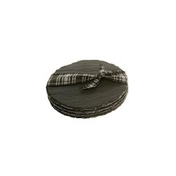 Sottobicchiere tondo in ardesia nera cm 10