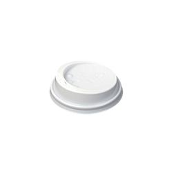 Coperchio monouso con foro per bicchiere cappuccio in plastica bianca cm 8,5