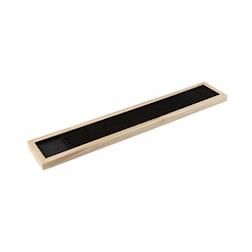 Bar mat in legno con inserto in gomma nera cm 62,5x10,5x2
