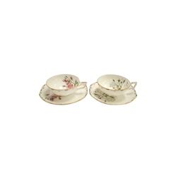 Set 2 tazze tè Vintage con piatto e decoro a fiori in porcellana cl 20