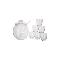 Poncera con coperchio in vetro trasparente lt 4,5 con 6 bicchieri