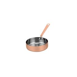 Tegamino tondo a un manico in acciaio inox e rame cm 7