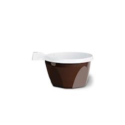 Tazza monouso cappuccino con manico in polipropilene marrone cl 10