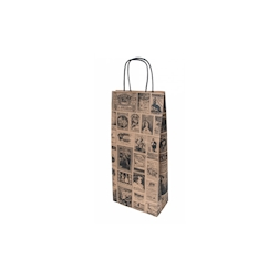 Borsa Bacchus per bottiglie in carta decorata cm 18x10x39